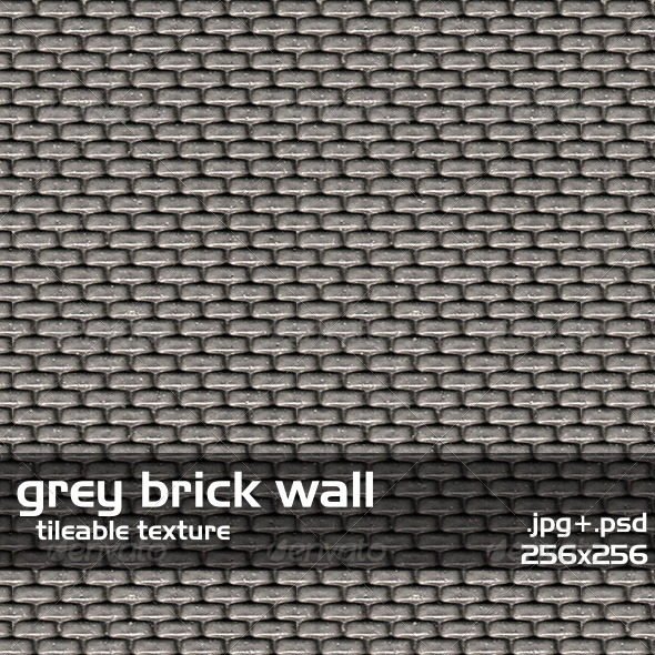 Gray Brick Wall - 3DOcean Item for Sale
