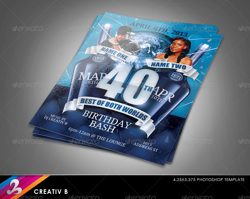 Birthday Invitation Template Both Worlds By CreativB GraphicRiver - Birthday invitation template graphicriver