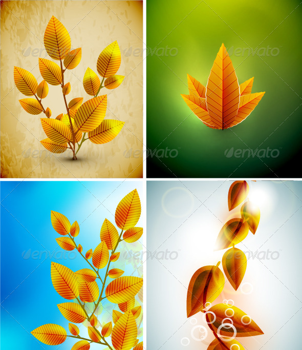 Vector Autumn Leaves Backgrounds - Seasons Nature