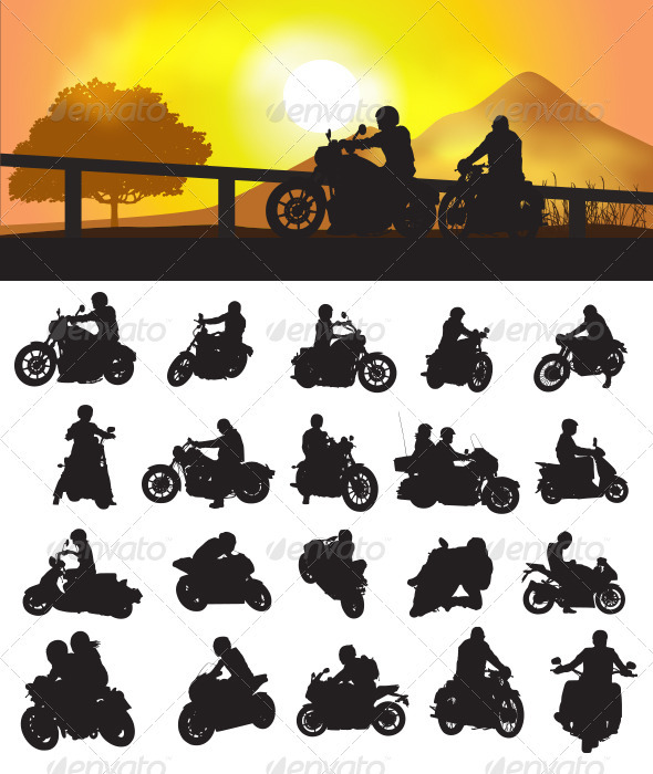 Motorcycle Rider Silhouette - Sports/Activity Conceptual