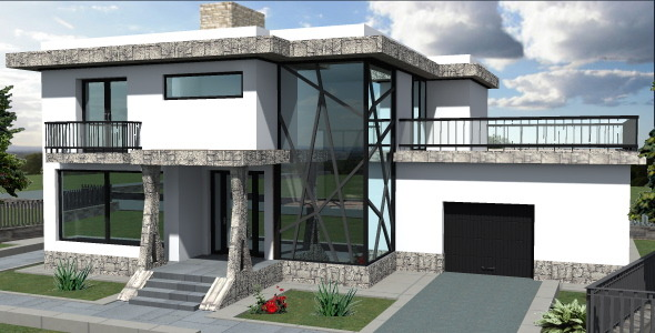 Green Roof Contemporary House - 3DOcean Item for Sale