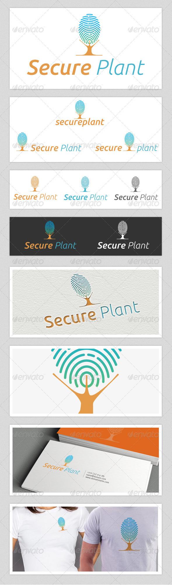 Secure Plant Finger Print Logo - Objects Logo Templates