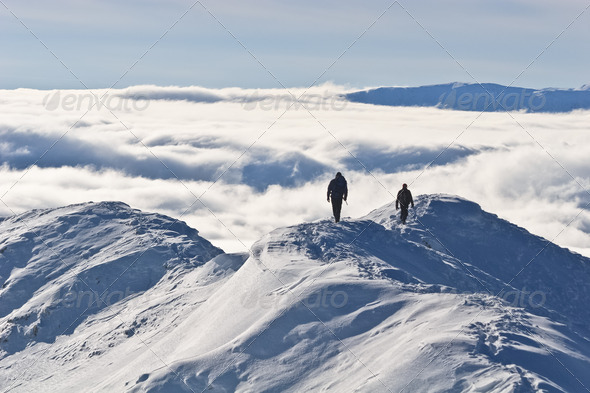 mountain top in winter - Stock Photo - Images
