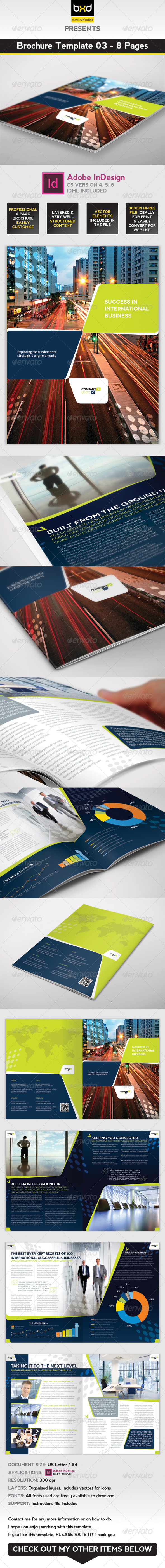 Brochure Template - InDesign 8 Page Layout 03 - Corporate Brochures
