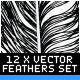 12 Various Hand Drawn Style Vector Feathers - GraphicRiver Item for Sale