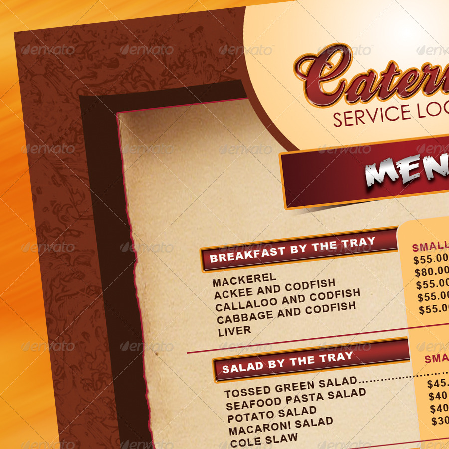 Catering Menu Template Flyer By Owdesigns Graphicriver .  Catering Menu Template Free