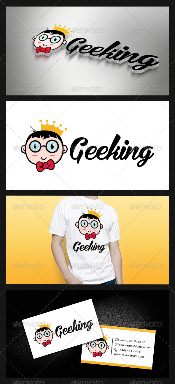 Geek King (Geeking) Logo Template - Humans Logo Templates