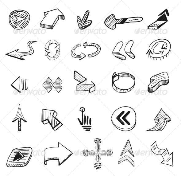 Vector Set - 25 Hand-drawn Arrows - Web Elements Vectors