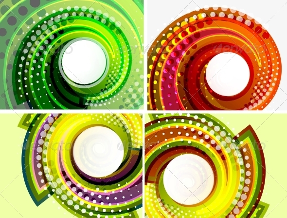 Colorful Abstract Swirl Background Set - Backgrounds Decorative