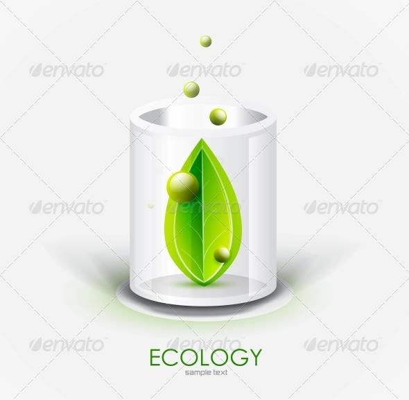 Glass Vessel and Leaf - Nature Icon - Miscellaneous Conceptual