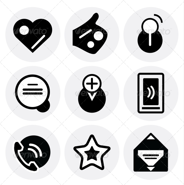 Vector black social icons. Icon set - Decorative Symbols Decorative