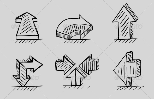 Hand-drawn 3D Arrows Vector Icon Set - Web Elements Vectors