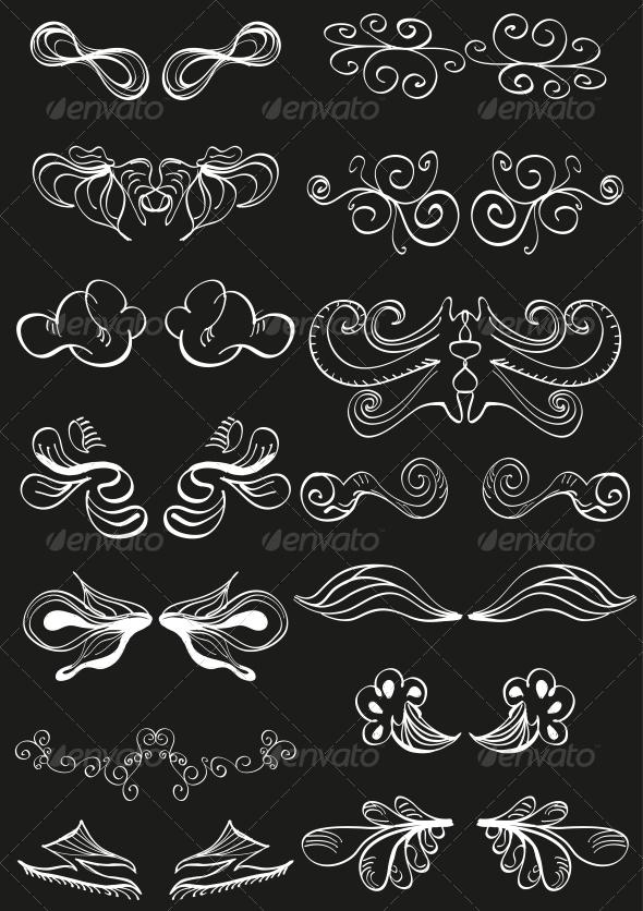 White Hand-drawn Banner Decorations on Black - Flourishes / Swirls Decorative