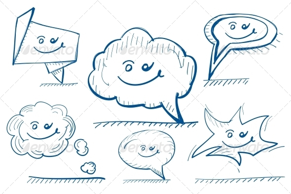 Hand-drawn Vector Design Elements - Speech Bubbles - Decorative Symbols Decorative