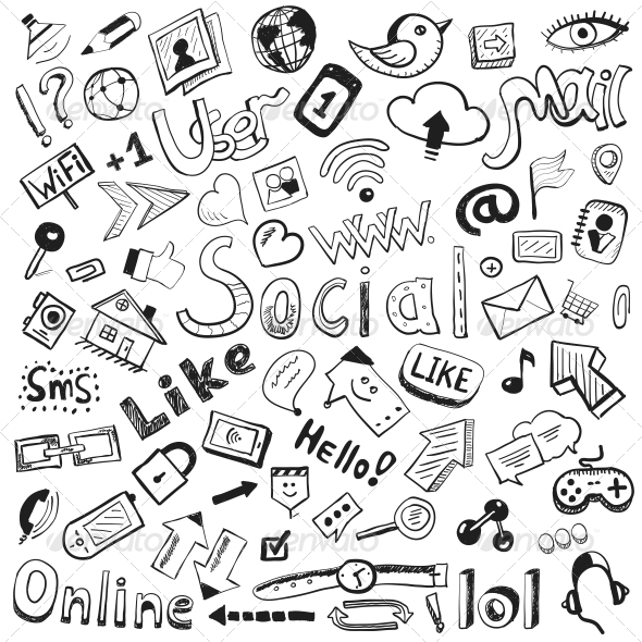 Vector Hand-drawn Icons - Modern Social  - Media Technology