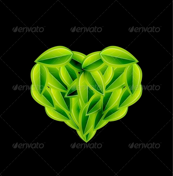 Eco Love Heart Made of Leaves - Vector - Nature Conceptual