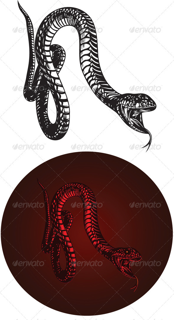 Monster Snake with Open Mouth - Animals Characters