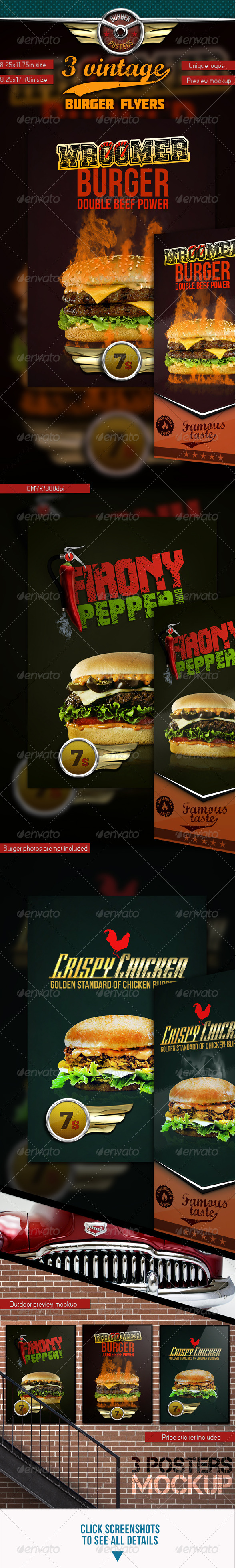 3 Burgers Vintage Posters (Flyers) - Restaurant Flyers
