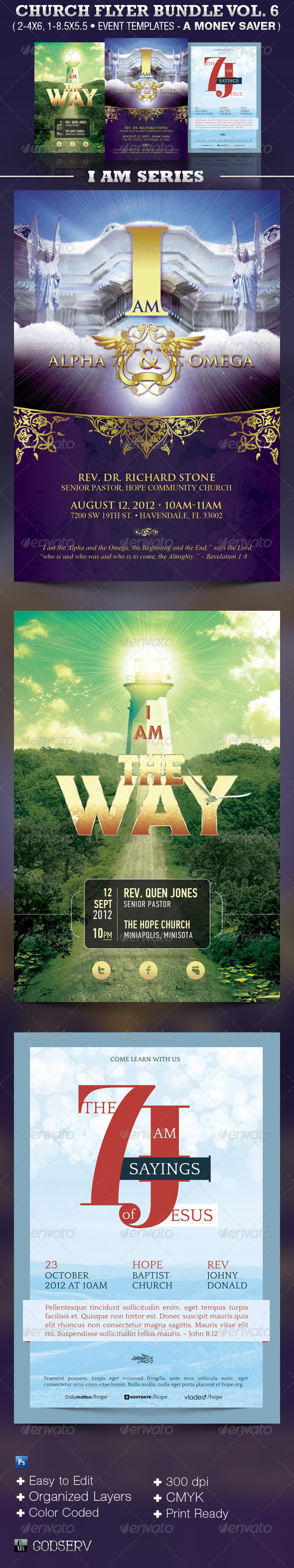 I Am Church Flyer Template Bundle Vol 6 - Church Flyers