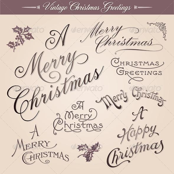 Vintage Calligraphic Christmas Greetings - Christmas Seasons/Holidays