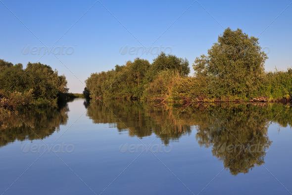 reflections on lake - Stock Photo - Images