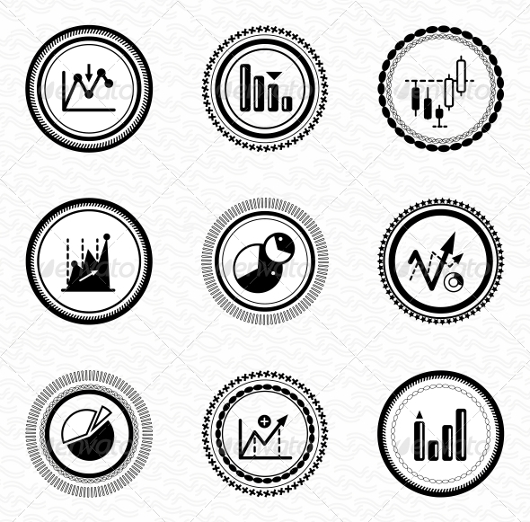 Black Retro Labels and Badges: Business Statistic - Web Elements Vectors