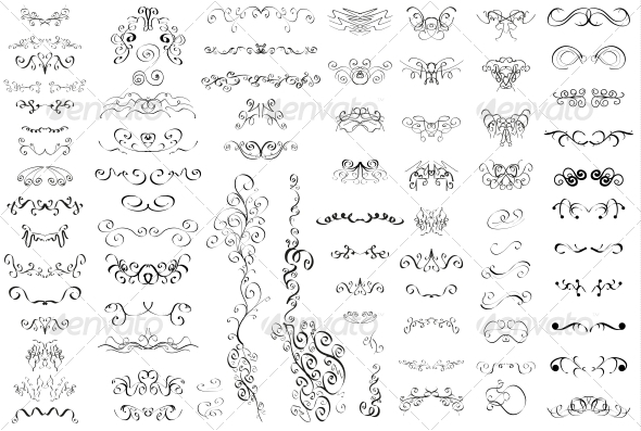 Set of Vintage Retro Calligraphic Elements - Flourishes / Swirls Decorative