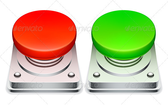 Red and Green Buttons - Web Elements Vectors