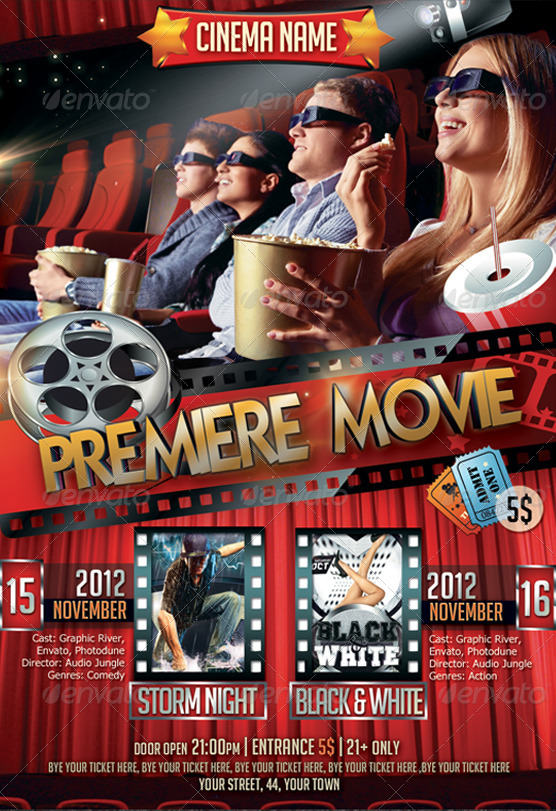 Premiere Movie Flyer Bundle In By Newentrydesign  Graphicriver