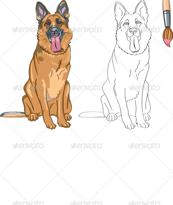 Vector Coloring Book of Smiling Dog German Shepherd - Animals Characters