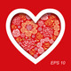 Vector Red Valentine's Day Card with Flower Hearts - GraphicRiver Item for Sale