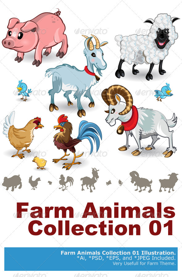 Farm Animals Collection Set 01 - Animals Characters