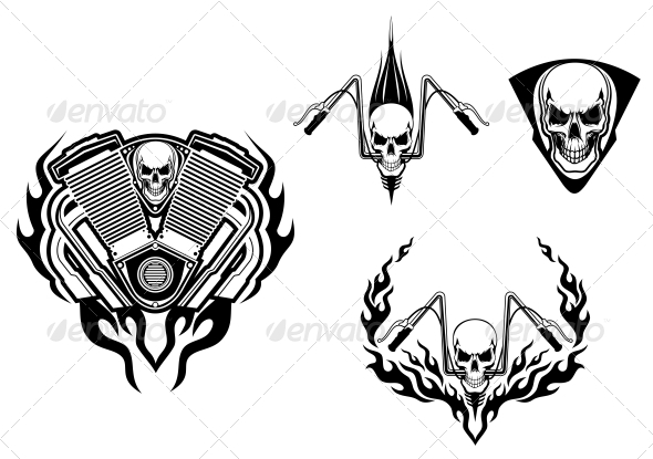 Death Monster for Racing Mascot or Tattoo - Tattoos Vectors