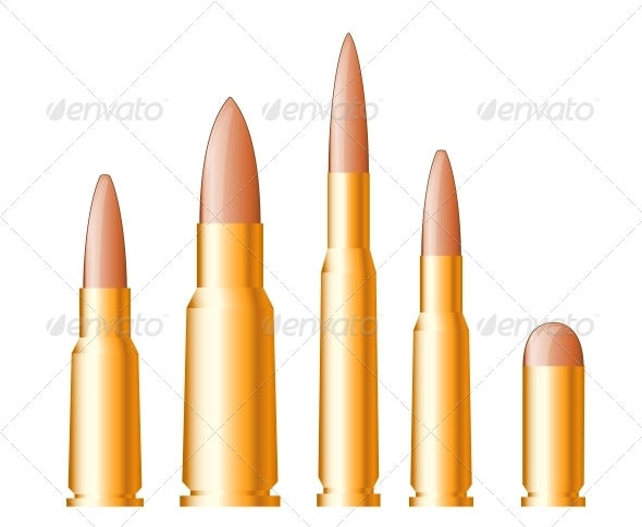 Set of Gun Bullets and Ammunition - Man-made Objects Objects