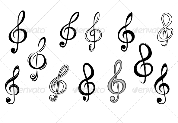 Music Note Keys - Decorative Symbols Decorative