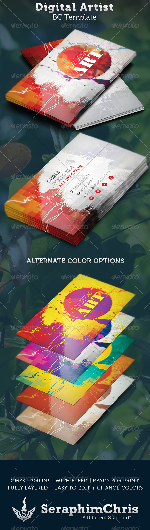 Digital Artist Business Card Template - Creative Business Cards