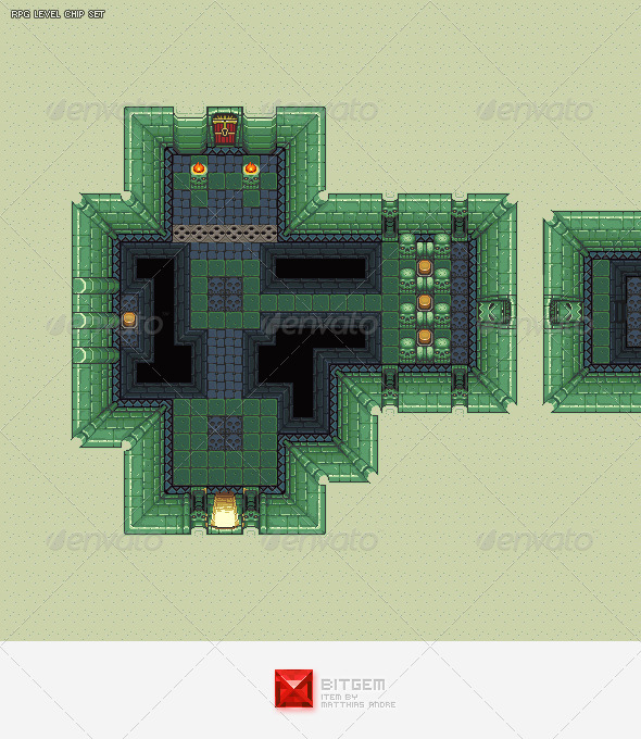 RPG Dungeon Level Chip Set 02 - Tilesets Game Assets