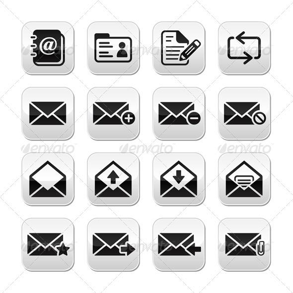 Email Mailbox Vector Buttons Set - Web Elements Vectors
