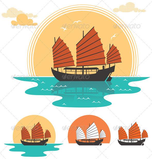 Junk Boat - Travel Conceptual