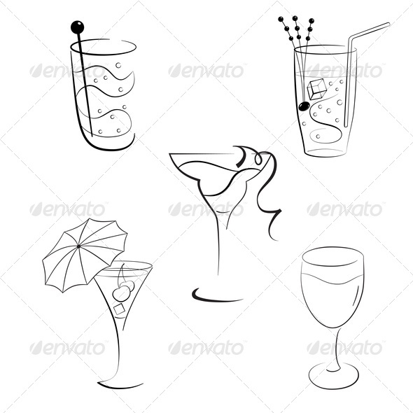 Set of Cocktails and Wines - Food Objects
