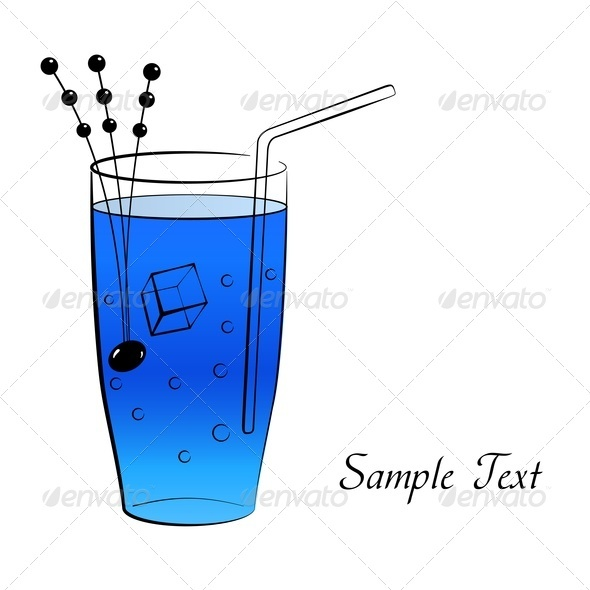 Blue Cocktail - Food Objects
