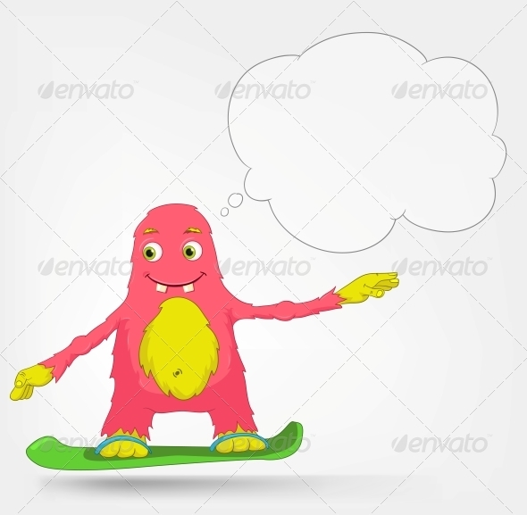 Funny Monster - Snowboarding - Monsters Characters