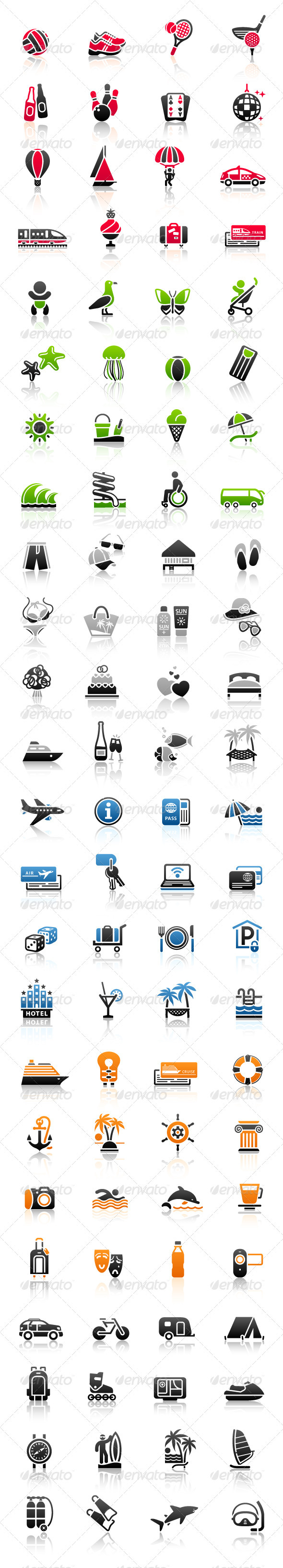 Vacation Signs. Travel Symbols. Recreation Icons.  - Web Icons