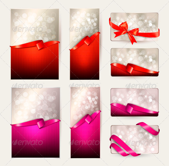 Set of Colorful Gift Cards with Gift Ribbons - Seasons/Holidays Conceptual