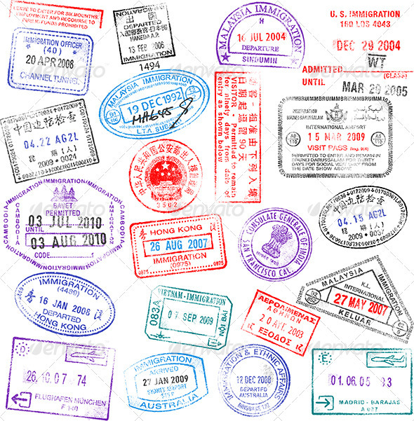 High Detail Vector Passport Stamps Set - Travel Conceptual