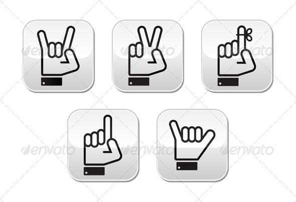Vector Hand Gestures, Signals and Signs - Victory - Web Elements Vectors