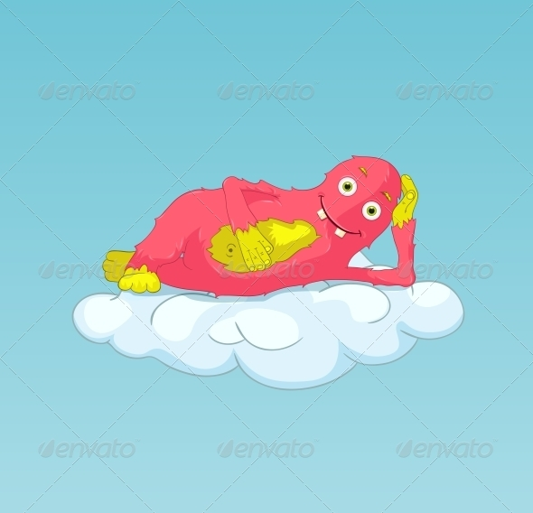 Funny Monster on Cloud - Monsters Characters