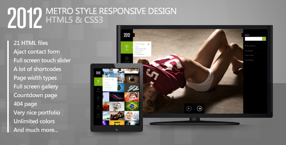 2012 - Metro Style Responsive Template - Creative Site Templates