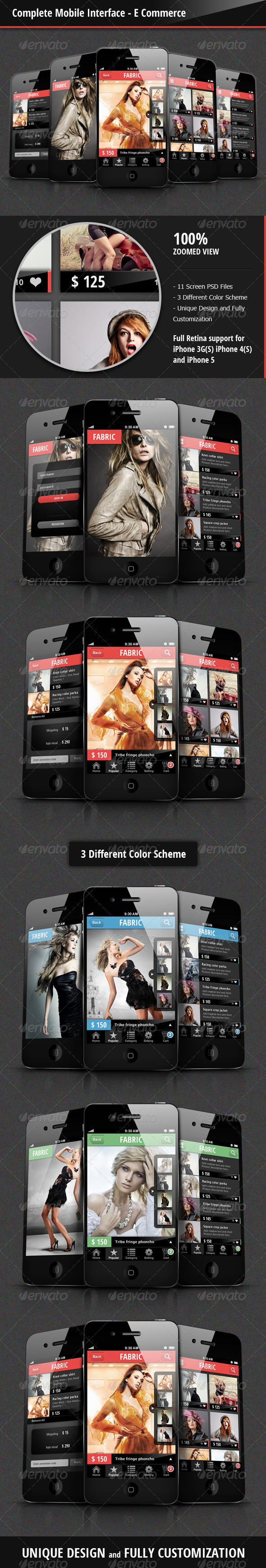 Complete Mobile Interface - E Commerce - User Interfaces Web Elements