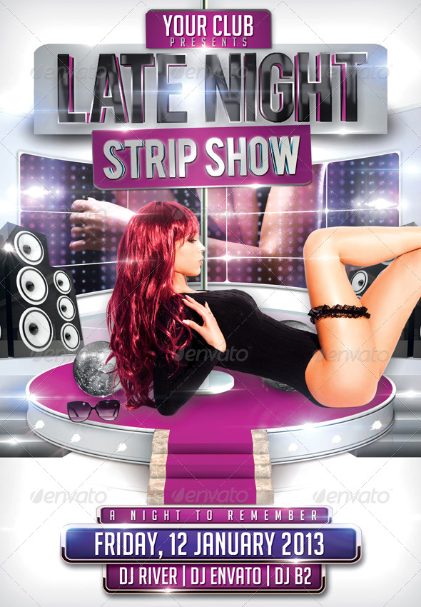 Strip Show Flyer Template